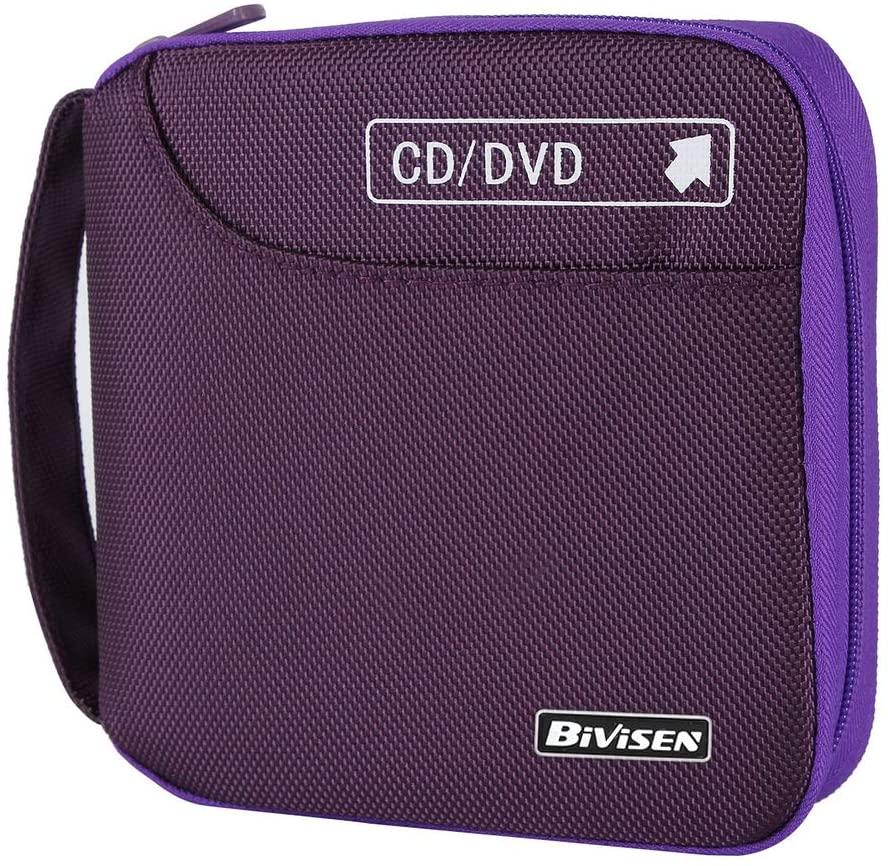 Bivisen CD Case, Nylon 32 Capacity CD DVD VCD Case Wallet Storage Holder Bag (Purple)