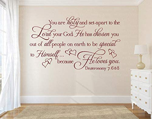 Christian Wall Decal - Vinyl Stickers You are Holy & Set Apart - Scripture Wall Decal - Religious Wall Decal - Religious Wall Quote - Wall Decal Bible - Vinyl Stickers Made in USA (Message for Color)