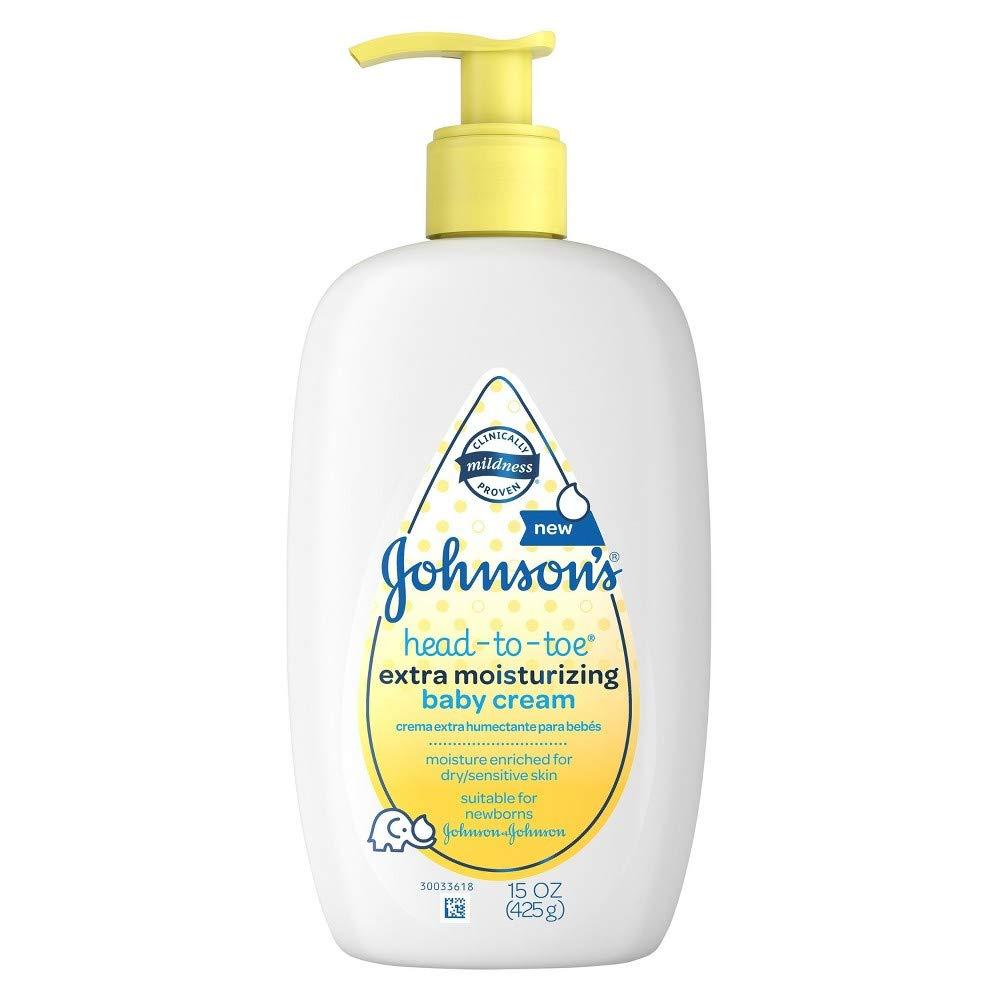 Johnsons Head-To-Toe Extra Moisturizing Baby Cream, 15 oz (Pack of 3)