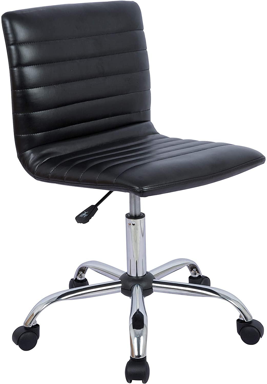 DHgateBasics Modern Adjustable Low Back Armless Ribbed Task Chair, Black (Renewed)