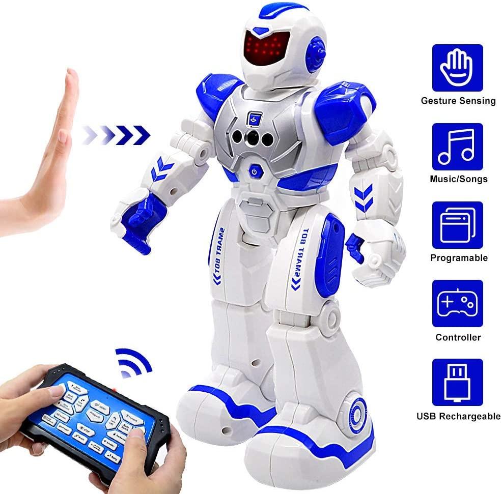 BIBIELF RC Robot for Kids Intelligent Programmable Robot with Infrared Controller Gesture Sensing Toys, Sliding, Walking, Singing, Dancing Robot Toys for Kids Birthday Gift, Blue