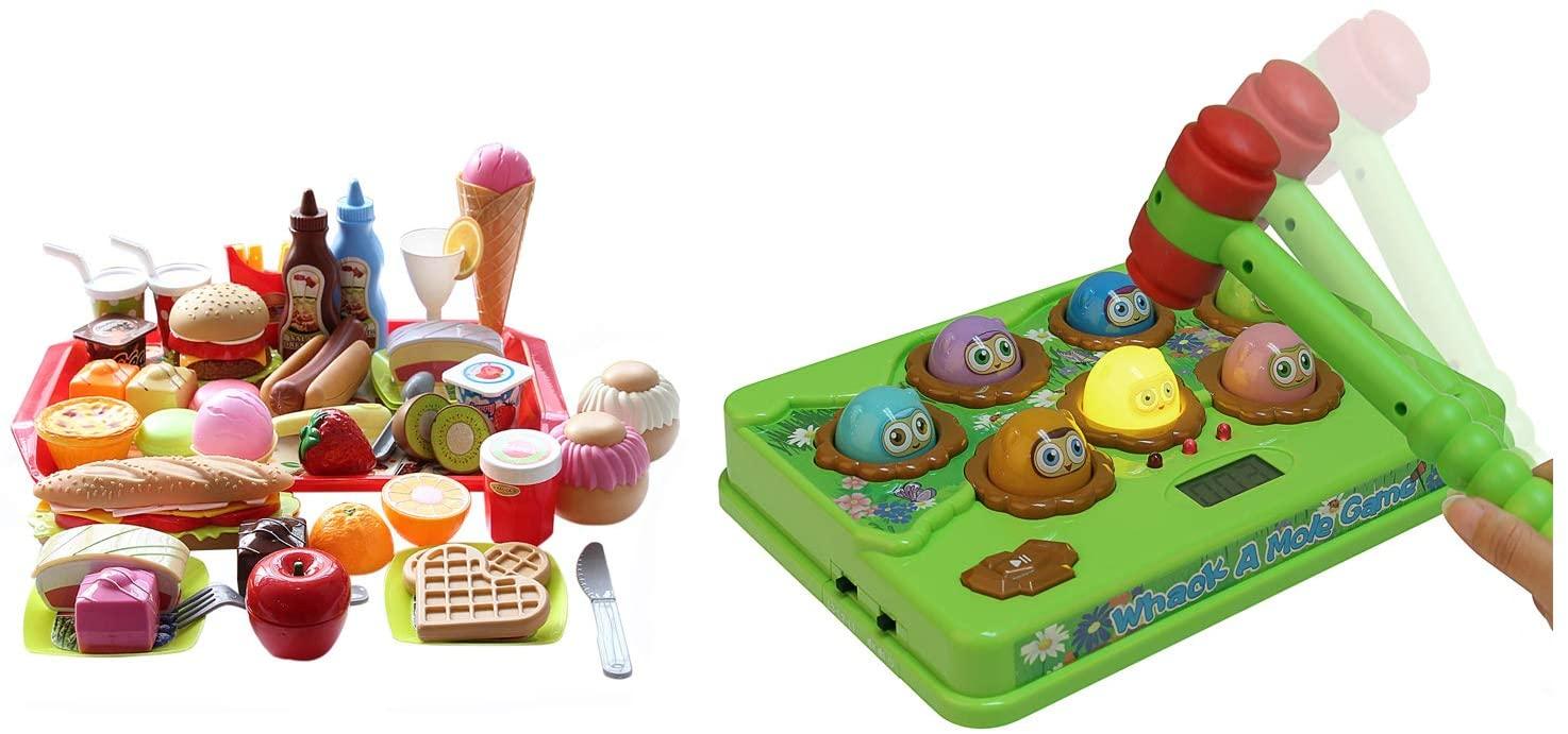 Catchstar Whack A Mole Game Fast Reflexes Wack A Mole Game Counting Score Whac A Mole and Fast Food Toy Set Variety Pretend Fast Food Playset Pretend Hamburger Toys Bundle for Kid Toddler Children