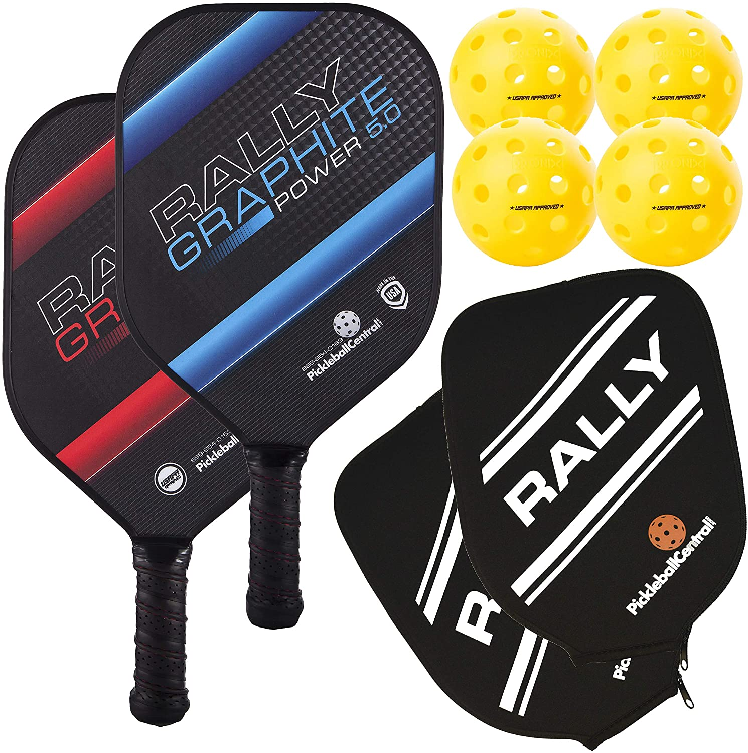 Pickleball Paddle - Rally Graphite Power 5.0 | Honeycomb Core, Graphite/Polymer Hybrid Composite Face | Power, Control, Large Sweet Spot | Paddle Cover