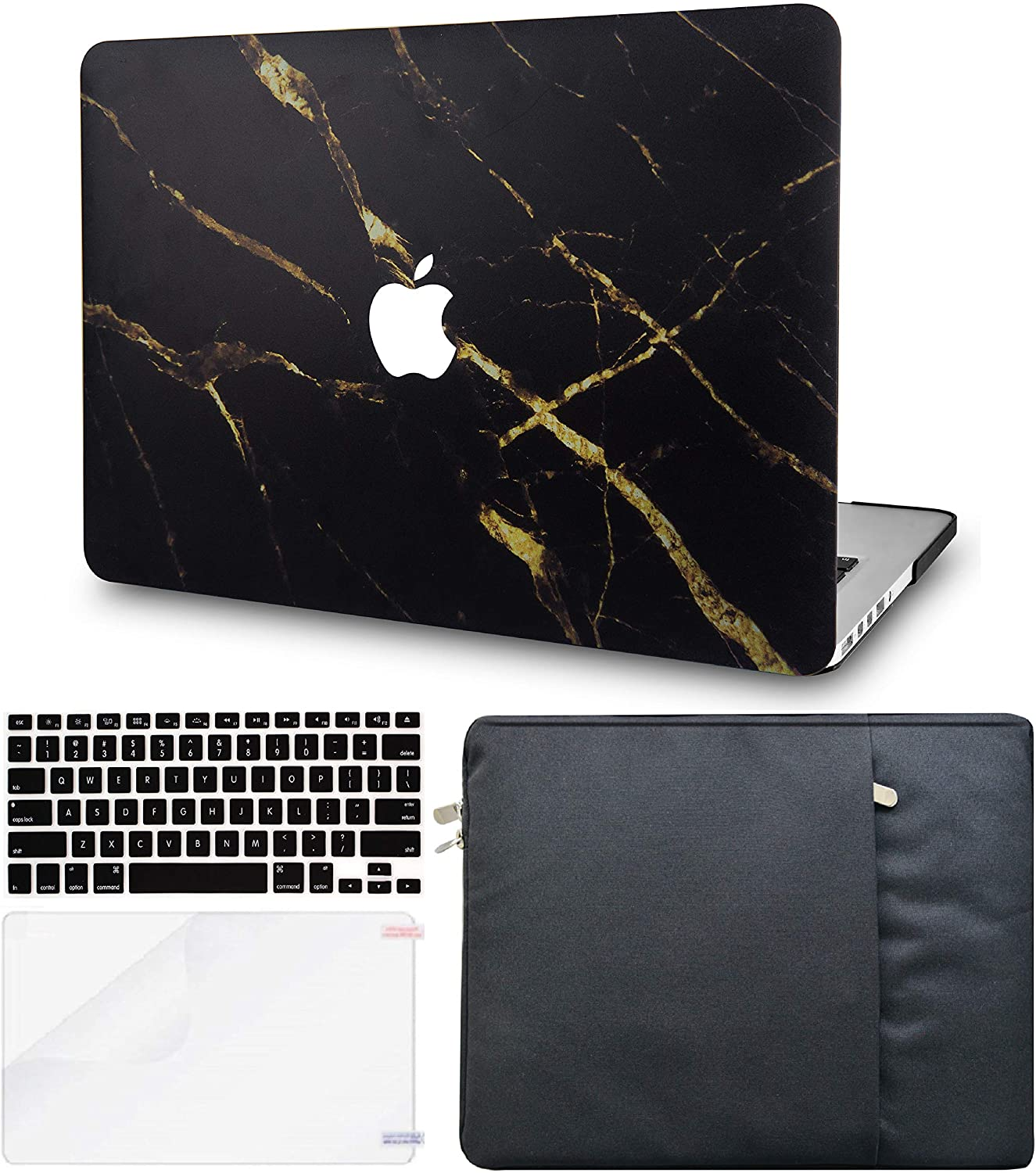 LuvCase 4in1 Laptop Case for MacBook Pro 15 Touch Bar (2019/2018/2017/2016 Release) A1990/A1707 Hard Shell Cover, Sleeve, Keyboard Cover & Screen Protector (Black Gold Marble)
