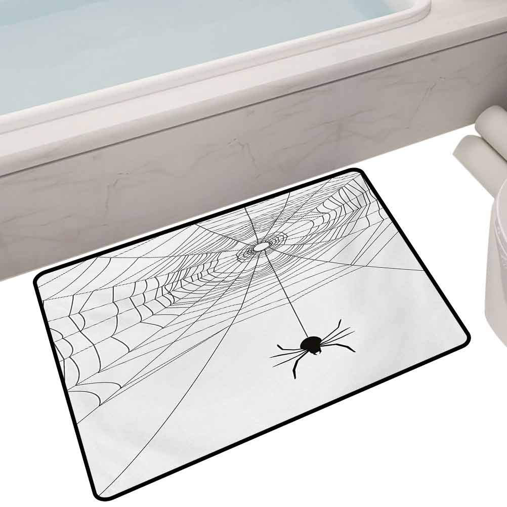 Polyester Anti-Slip Floor Rug Complex Doodle Net Sticky Gossamer Hunting Insect Catch Danger Prey Spooky,32X20 Rectangle Floor mat