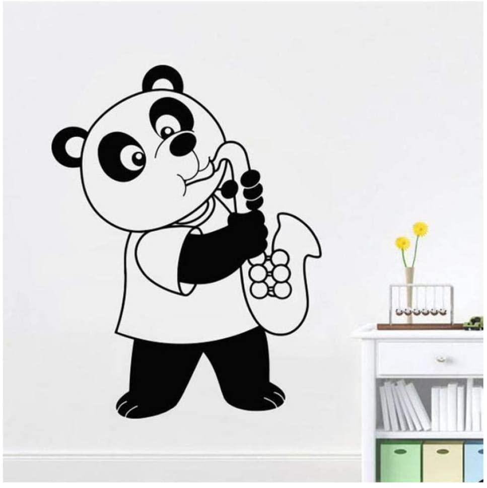 Wall Stickers Panda Blowing Saxophone Wall Decal Bedroom Nursery Cute Interior Design Music Room Modern Art Mural Vinyl Wall Sticker