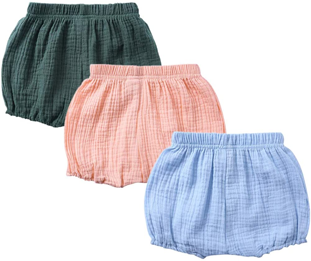 AYIYO Toddlers Shorts Set Super Soft Unisex Baby Girl Boy Linen Bloomers 3Pcs