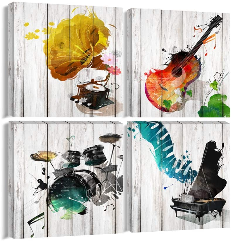 Music Canvas Wall Art Musical Instrument Painting Picture Prints Gift for Music Lover 4 Panels Music Posters Modern Home Decor for Living Room Bedroom Framed Ready to Hang-16