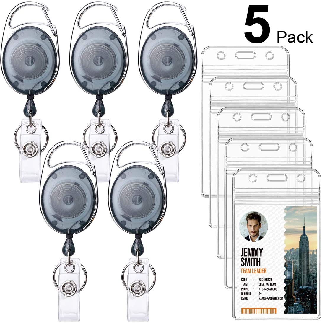 Ktrio 5 Pack Badge Holders with Badge Reels Retractable, Clear Plastic ID Card Badge Holder ID Badge Reel, ID Holders for Badges Work Badge Holder Name Tag Holders for Nurse, Office & Lanyard,Frosted