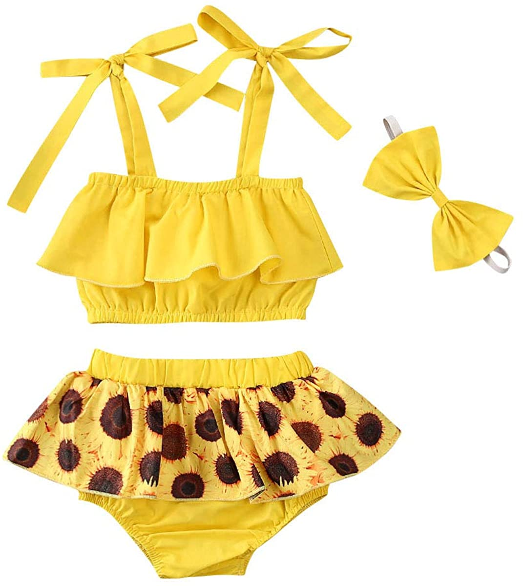MA&BABY Baby Girl Clothes Sunflower Ruffle Strap Tops Shorts Set with Headband 3Pcs Summer Outfit Set