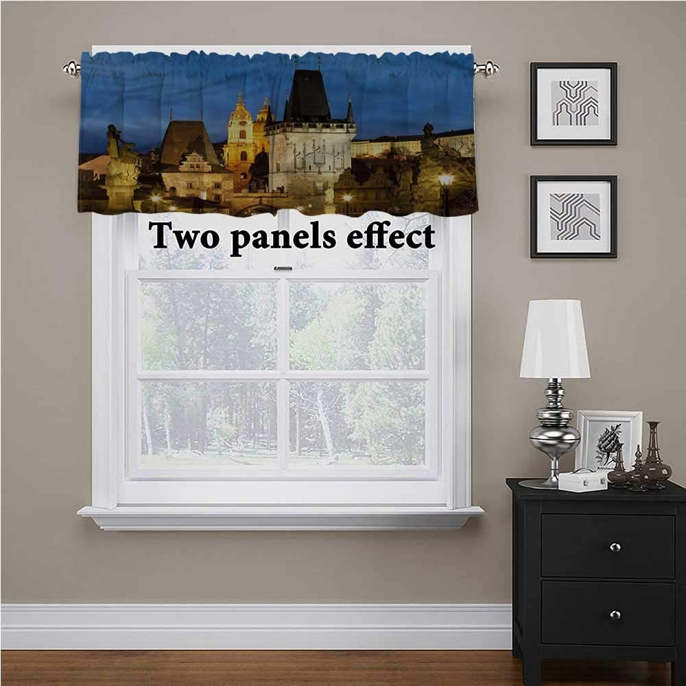 shirlyhome European Kitchen Window Curtains Building Tower Prague for Kids Room/Baby Nursery/Dormitory, 54 Inch by 12 Inch 1 Panel