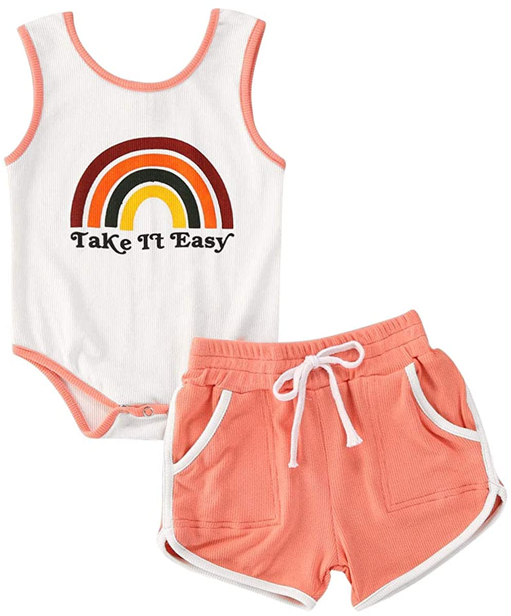 Newborn Infant Baby Girl Summer Clothes Knitted Cotton Rainbow Sleeveless Romper Tank Tops Shorts Pants 2Pcs Outfits