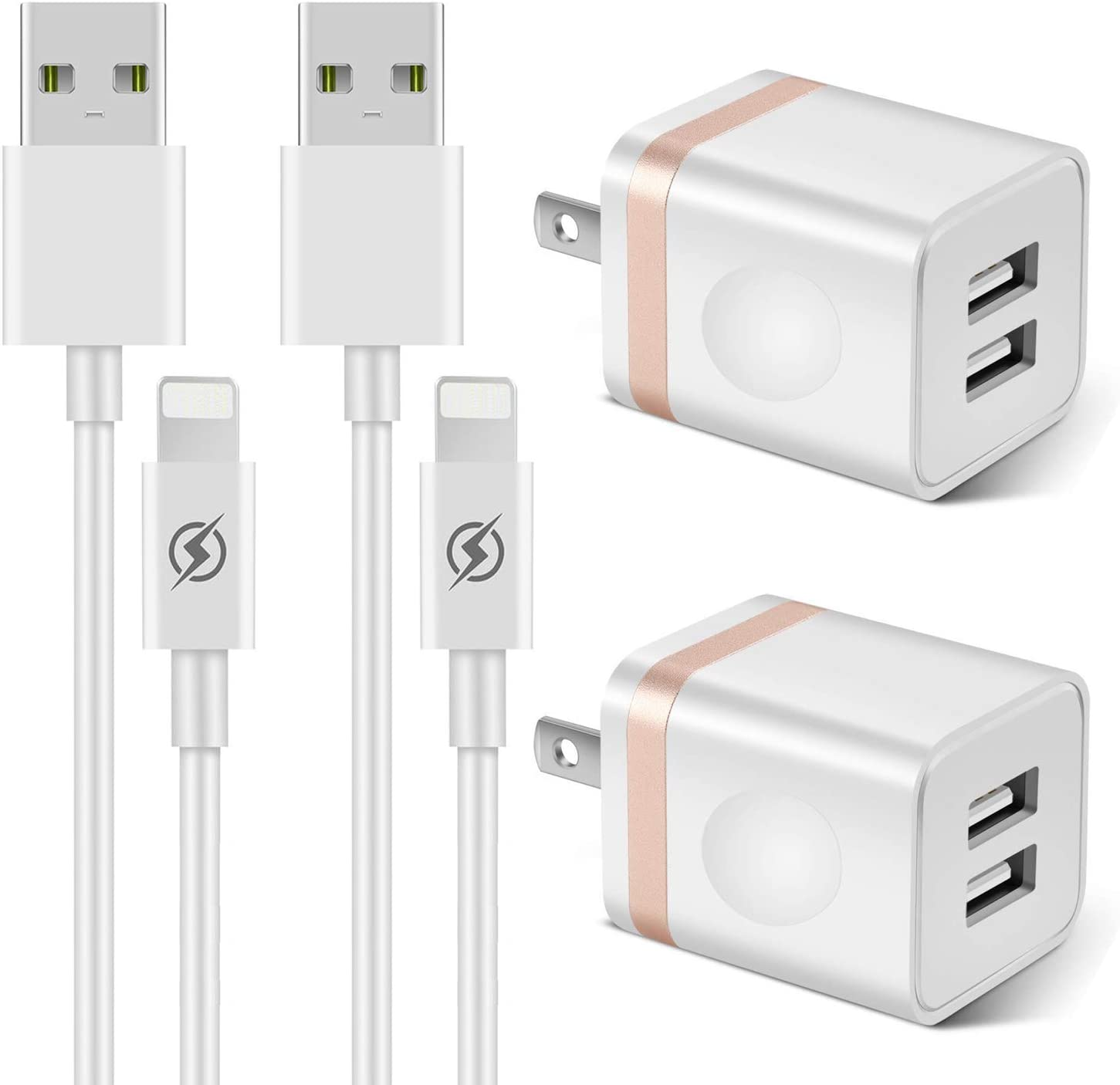 LUOSIKE Phone Charger 3ft Cable with Plug (4- in-1), Dual USB Wall Charger Adapter with 3 Foot Long Charging Cord Compatible with Phone 11/11 Pro/Xs/Xs Max/XR/X 8/7/6/6S Plus SE/5S/5C, Pad-Gold