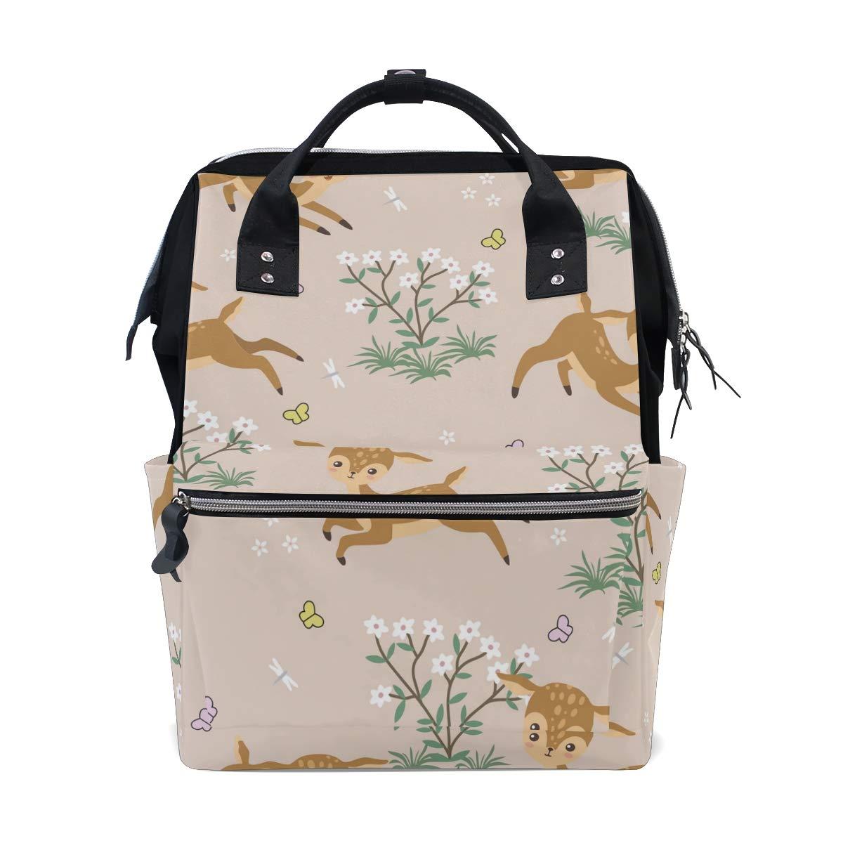 Diaper Bag Backpack Cute Deers Multipurpose Travel Backpack