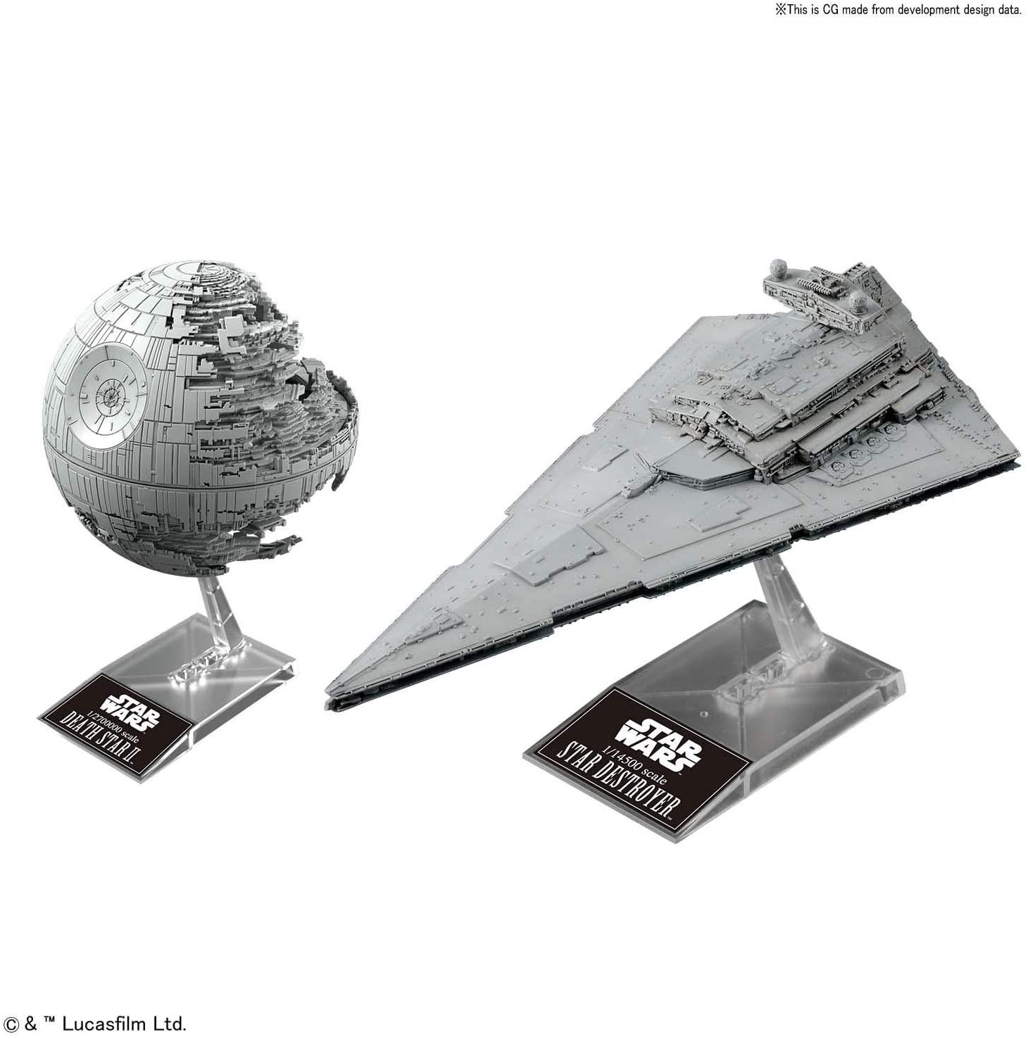 Bandai Star Wars Plastic Model Death Star II 1/2,700,000 & Star Destroyer 1/14,500