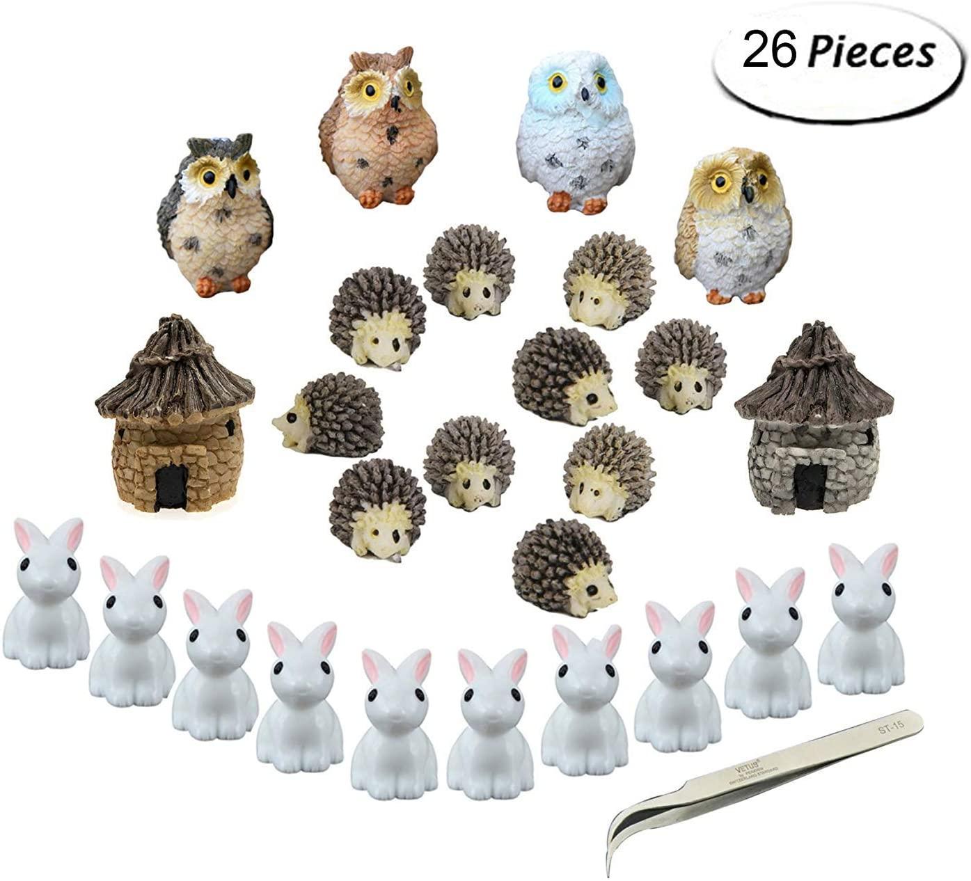 Fashionclubs Miniature Garden Ornaments, 24pcs Miniature Ornaments Kit Set Fairy Garden Figurines Accessories for DIY Dollhouse Plant Pot Decoration,with 1pcs Tweezer