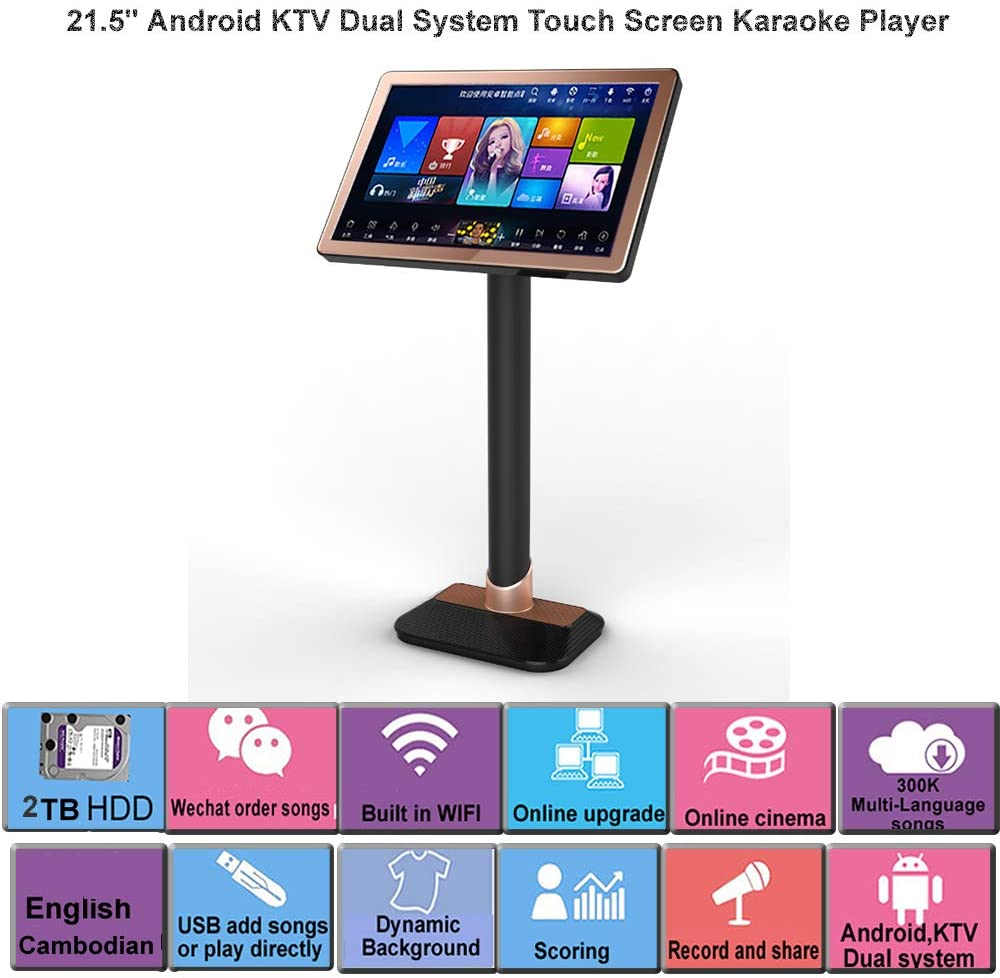 HAJURIZ 22'' Touch Screen Karaoke Player,2TB HDD With English,Cambodian Songs,240K Multi-Language songs on Cloud,Free Download,Android,KTV Dual system.Record,Score,WirelessMicrophone