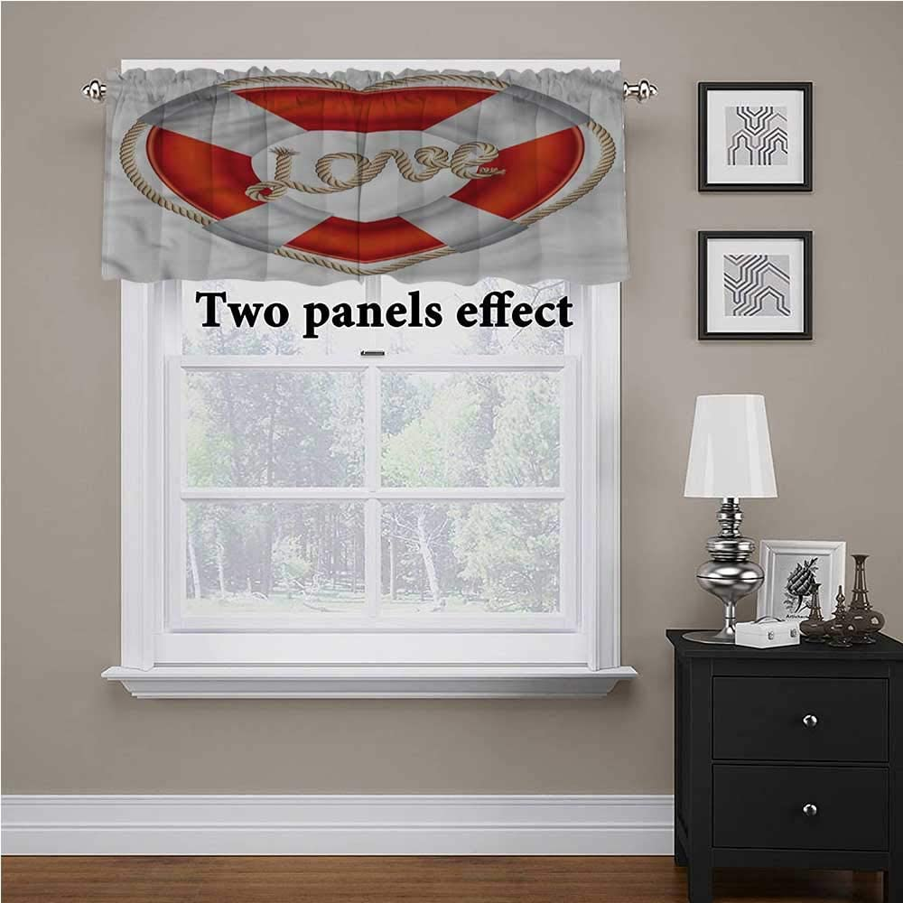 shirlyhome Buoy Valance Curtains Valentine Love Hearts for Kids Room/Baby Nursery/Dormitory, 56 Inch by 16 Inch 1 Panel