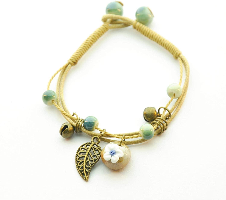 PEPLUX Vintage Style Porcelain Bracelet(SkyBlue Flower)