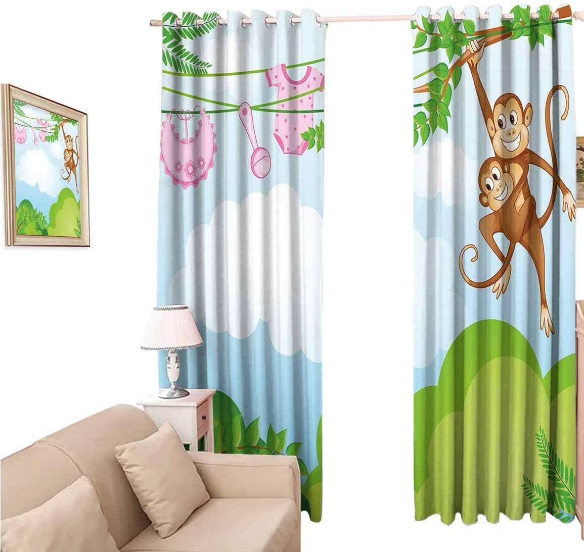 oobon Blackout Wide Curtains 108 Inches, Nursery Monkey Swinging with The Kid Baby Clothes Chimpanzee Jungle Joy Togetherness, for Bedroom and Living Room, 108x108 inch