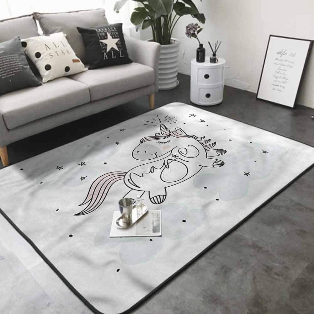 Cute Design Anti-Slip Floor MAT Colorful Sketch Unicorn Magic Text 80