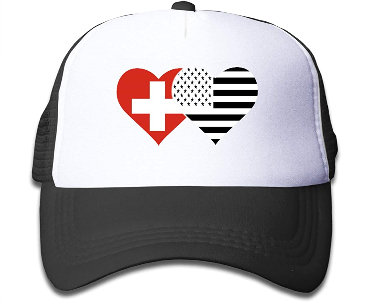 Swiss Flag and American Flag Children's Adjustable Mesh Hats Baseball Trucker Cap for Boys and Girls