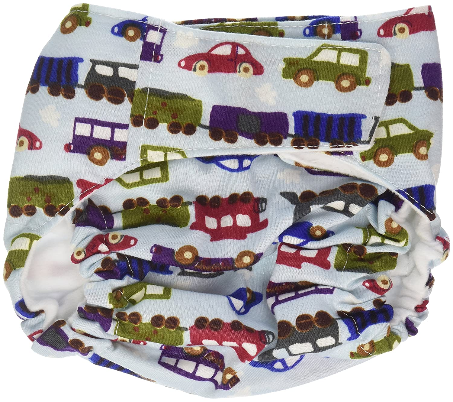 CuteyBaby That's a Wrap Diaper Cover, Trains & Cars, Medium