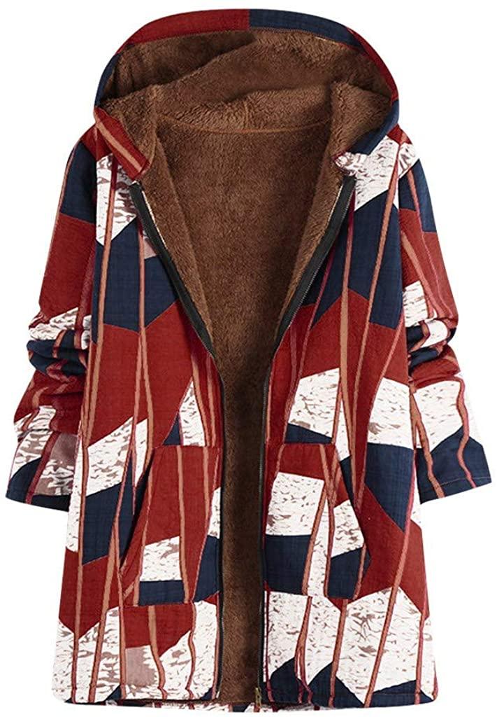 HNTDG Women Oversized Faux Wool Blend Warm Winter Jacket Zip Up Boho Floral Print Hooded Outwearcoat