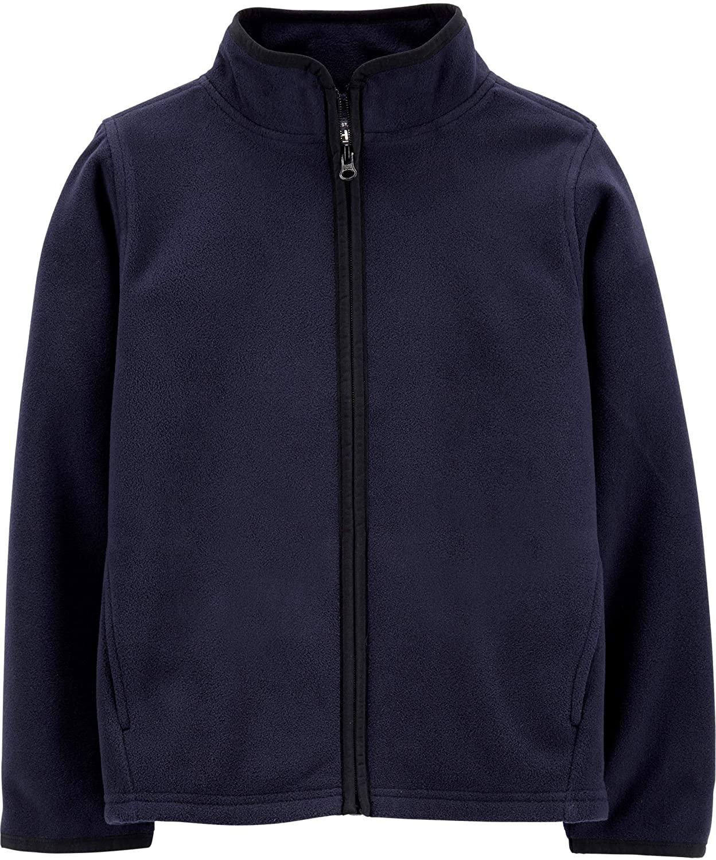 OshKosh B'gosh Boys Full Zip-up Navy Blue Fleece Pullover Cozie Jacket Size 6 Months