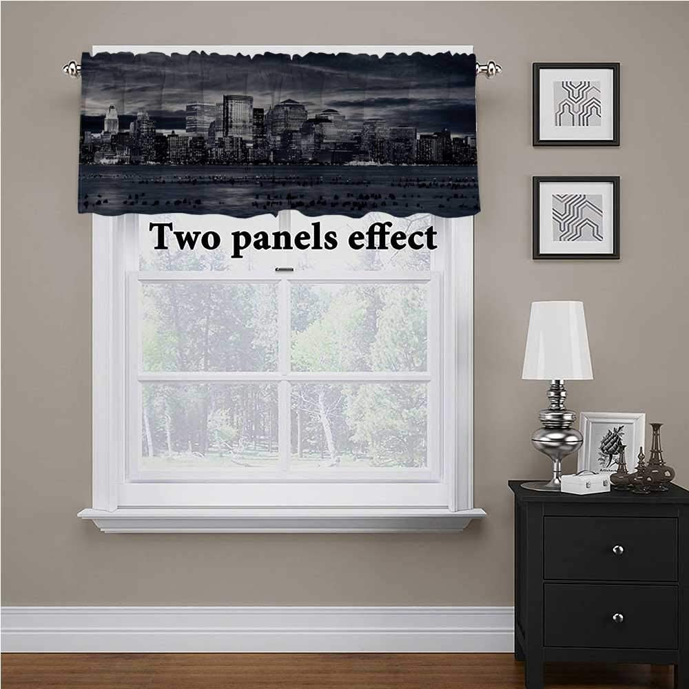 shirlyhome City Window Valences Curtains Dramatic View NYC Skyline for Kids Room/Baby Nursery/Dormitory, 56 Inch by 14 Inch 1 Panel