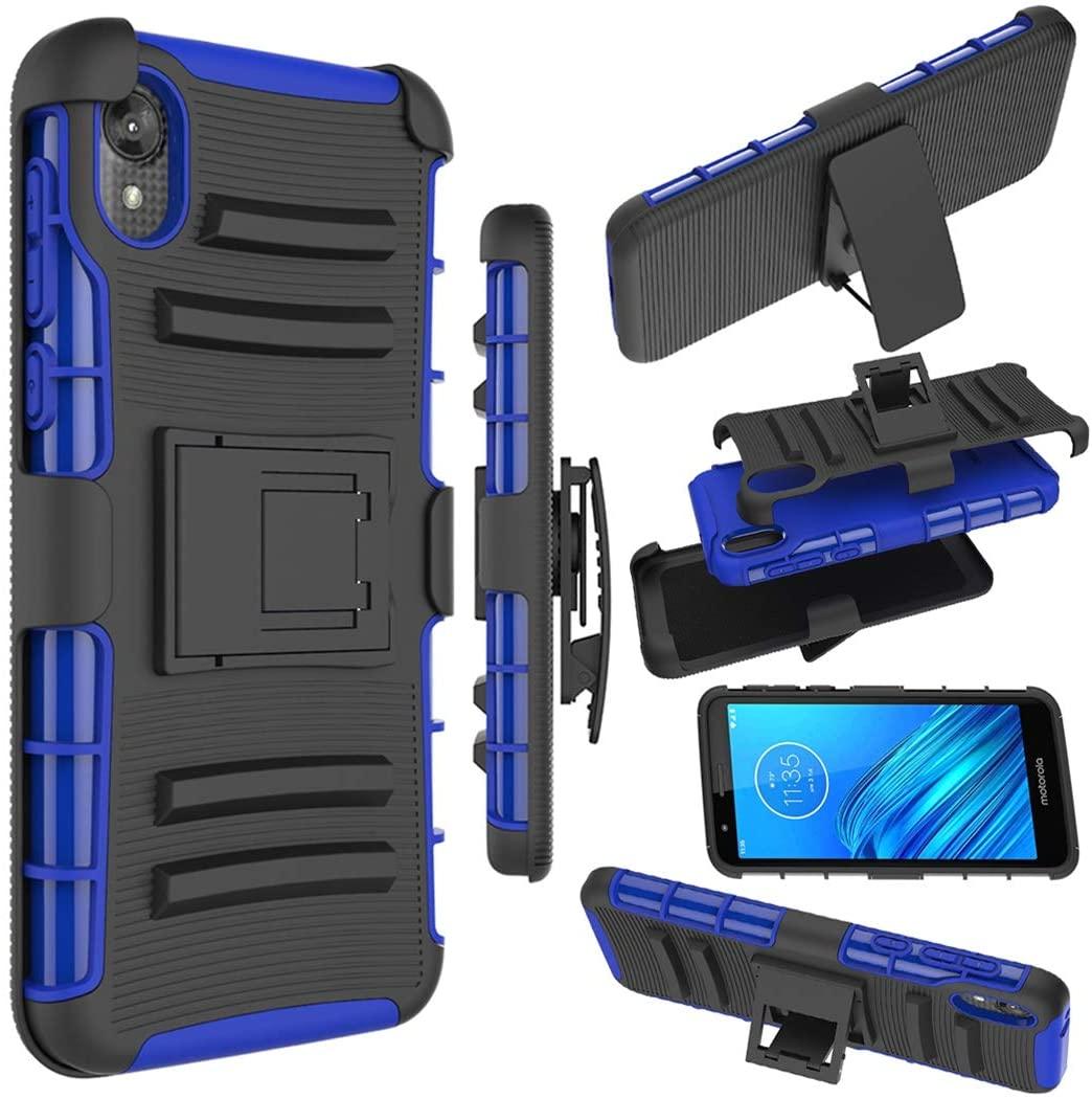 Zoeirc Moto E6 Case, Motorola E6 Holster Case,[Heavy Duty] Armor Shock Proof Dual Layer Phone Case Cover with Kickstand & Belt Clip Holster for Motorola Moto E6 (Blue)