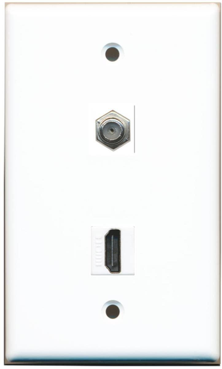 RiteAV - Flat 1 Port HDMI 1 Port Coax Cable TV- F-Type Wall Plate - White