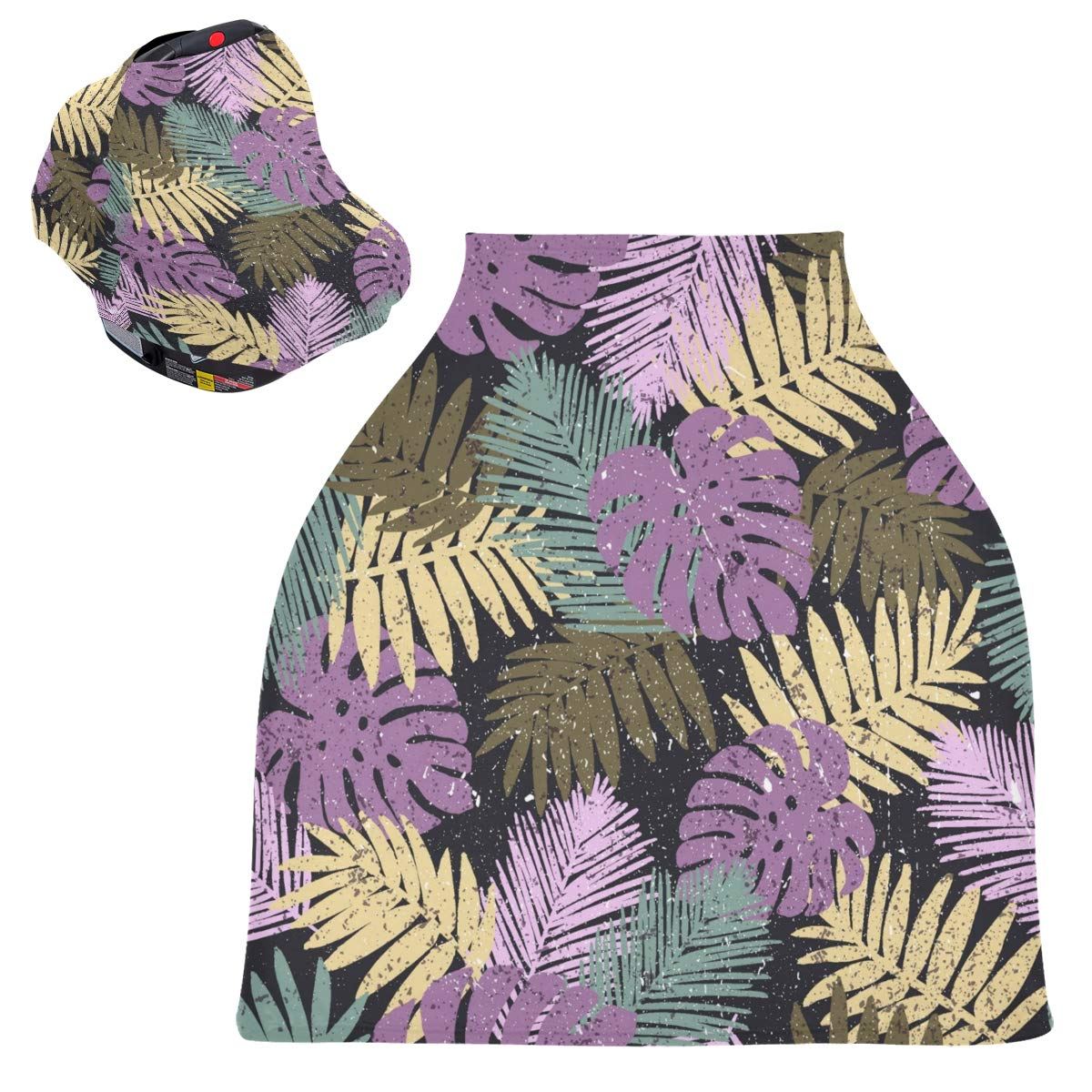 Stretchy Baby Car Seat Canopy - Tropical Palm Leaves Infant Stroller Cover Multi Use Carseat Canopy Cover Nursing Cover for Breastfeeding