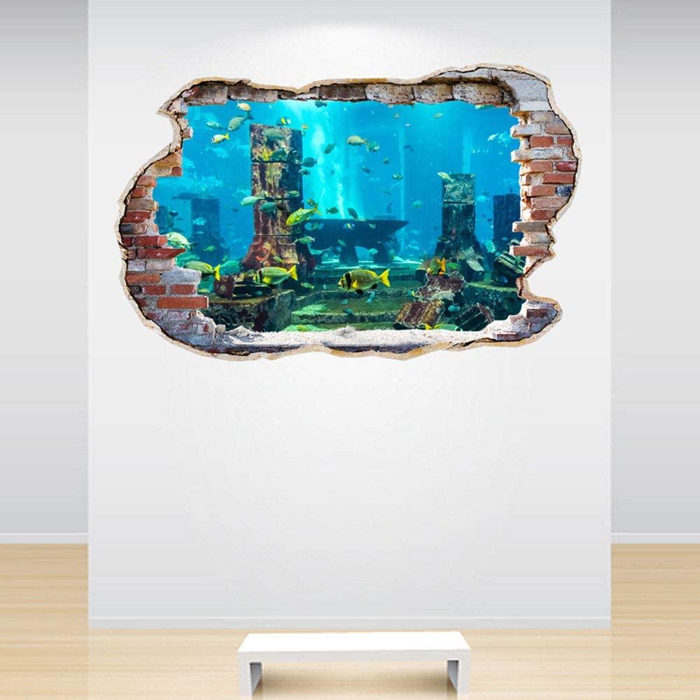 Full Colour Aquarium Smashed Wall 3D Effect Under The Sea Aquarium Ocean Bedroom Wall Sticker Decal Kids Bedroom Decorat