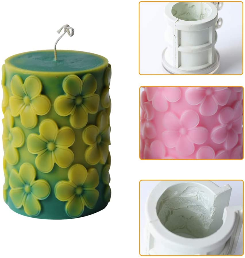 HZW Candle Molds DIY Candle Making Supplies Moulds Round Pillar Shape with Frangipani Flower Pattern Birthday Christmas Wedding Party Candlelight Dinner Candle Making Mold