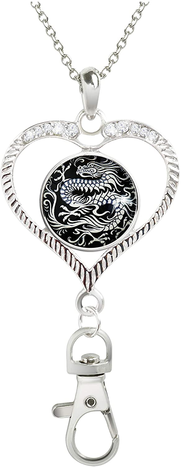 KristiPeterson Photo Heart Custom Women Office Lanyard ID Badges Holder Crystal Pendant Necklace with Glass Snap Charms (Chinese Dragon Asian Oriental Black White STASH)