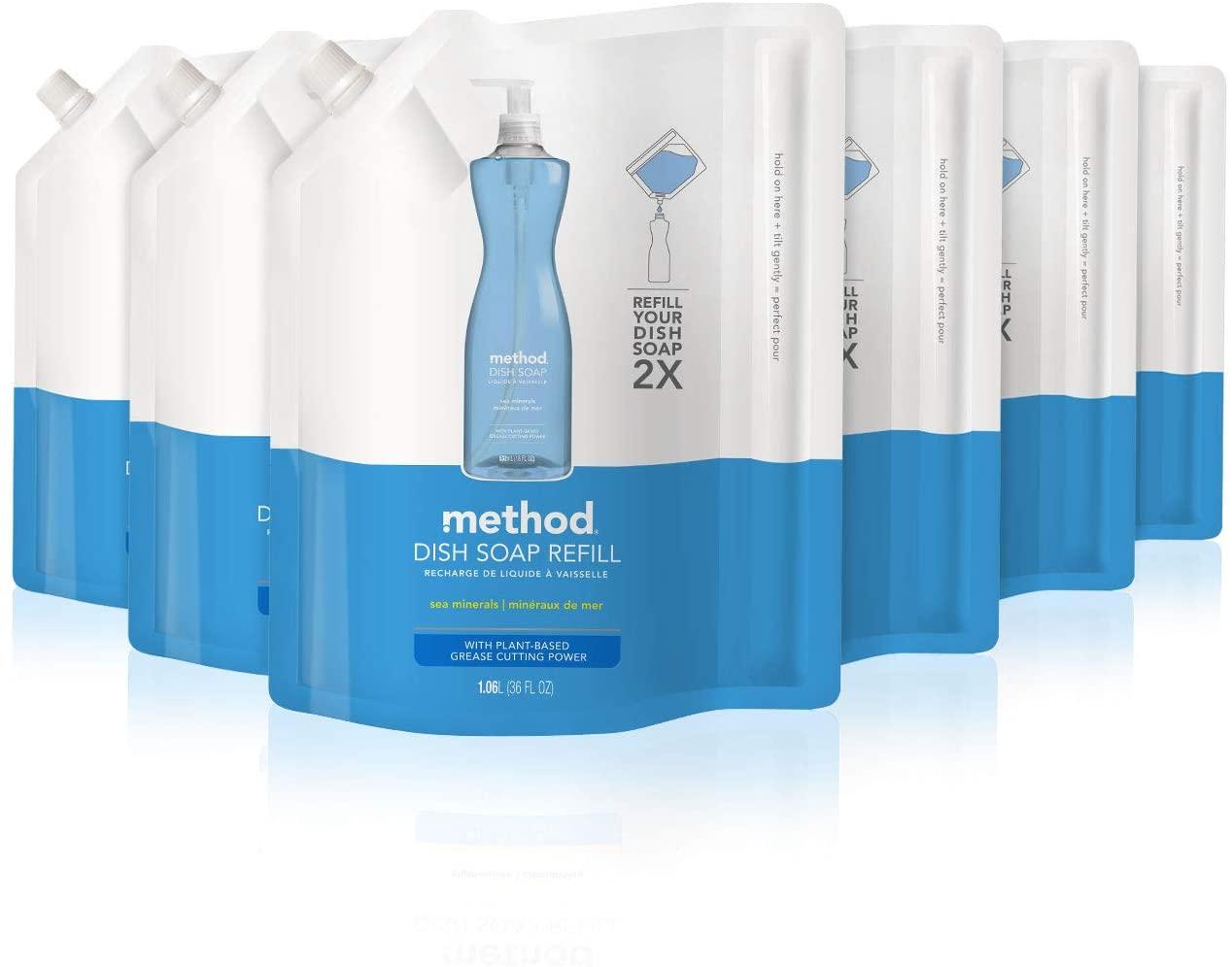 Method Dish Soap Refill, Sea Minerals, 36 Fl. Oz (Pack of 6)
