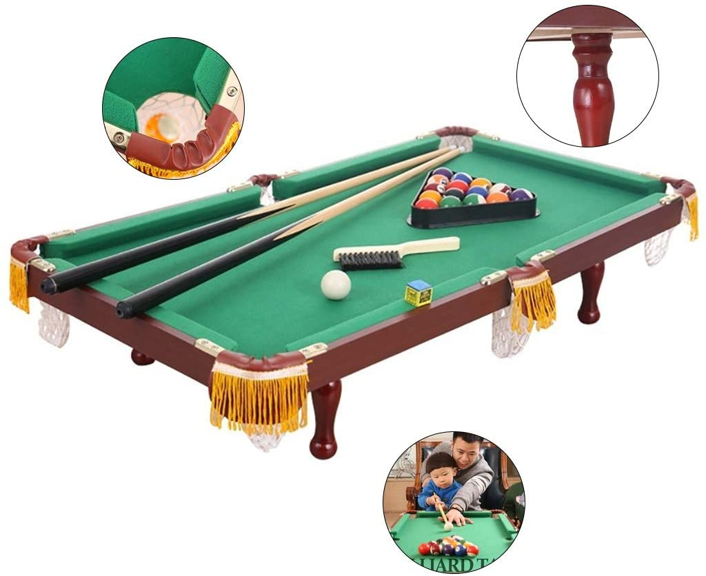 Children's Billiard Table American Black 8 Standard Snooker Tabletop Pool Table Indoor Cool Games Boys and Girls Toys Birthday Gifts (Color : Green, Size : 905220cm)