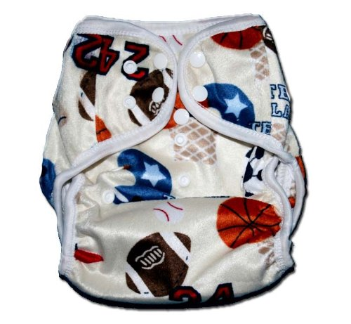 One Size Fit All- Diaper Covers for Prefolds or Regular Inserts PUL MINKY - SPORTS (PLAYBALL) by