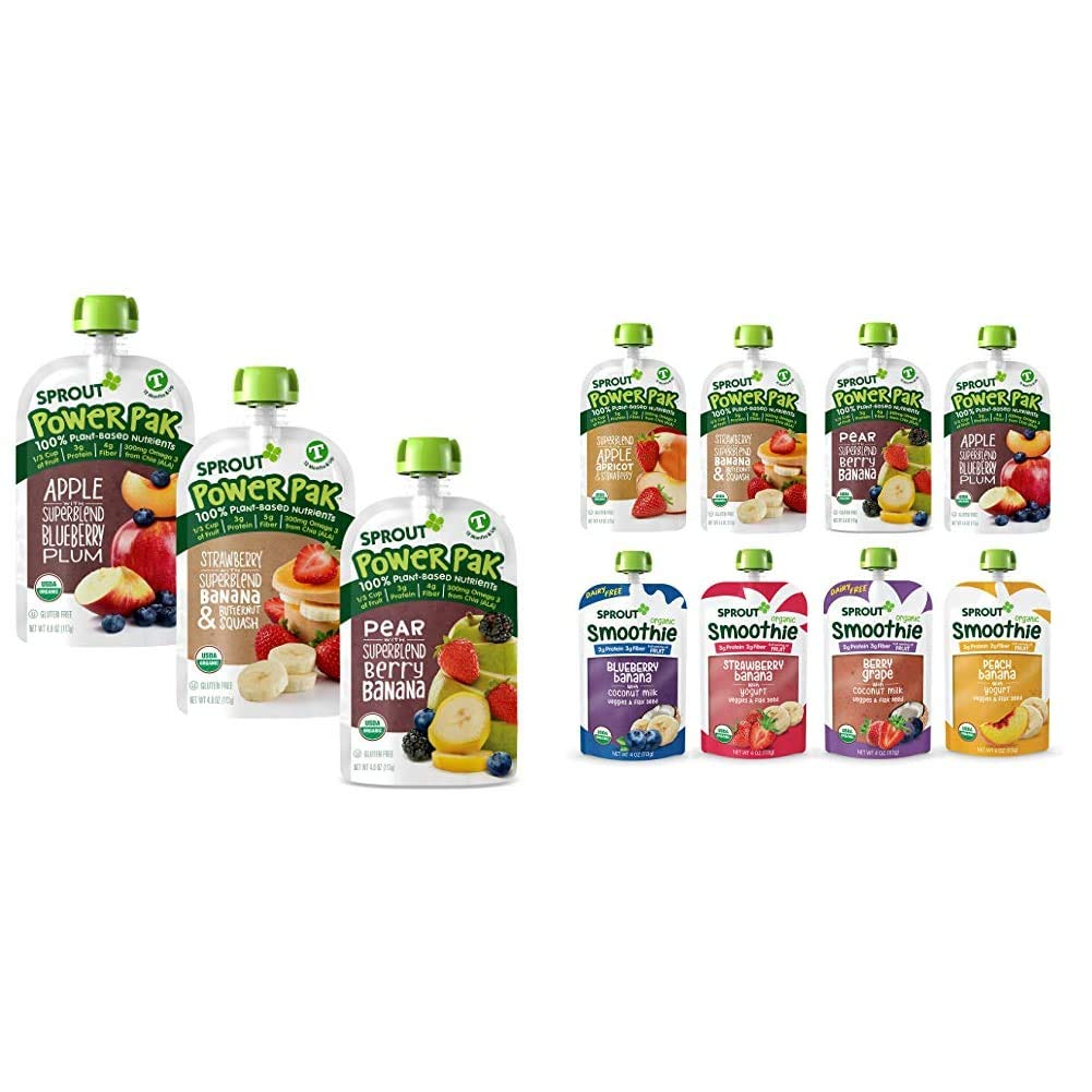 Sprout Organic Stage 4 Toddler Food Power Pak Pouches, Variety Pack, 4 Ounce (Pack of 18) & Organic Stage 4 Toddler Food, Power Pak & Smoothie Variety Sampler, 4 Ounce (Pack of 12)
