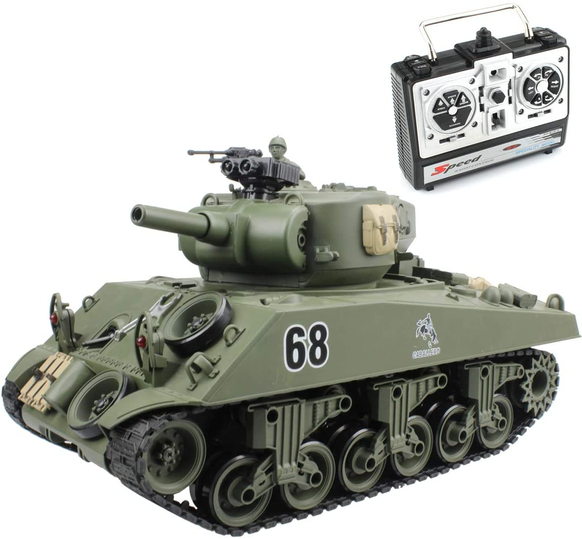 Fisca Remote Control Tank, 2.4Ghz 15CH 1/20 Sherman M4A3 Main Battle RC Tank That Shoot Airsoft for Kids Age 10 11 12-16 Year Old
