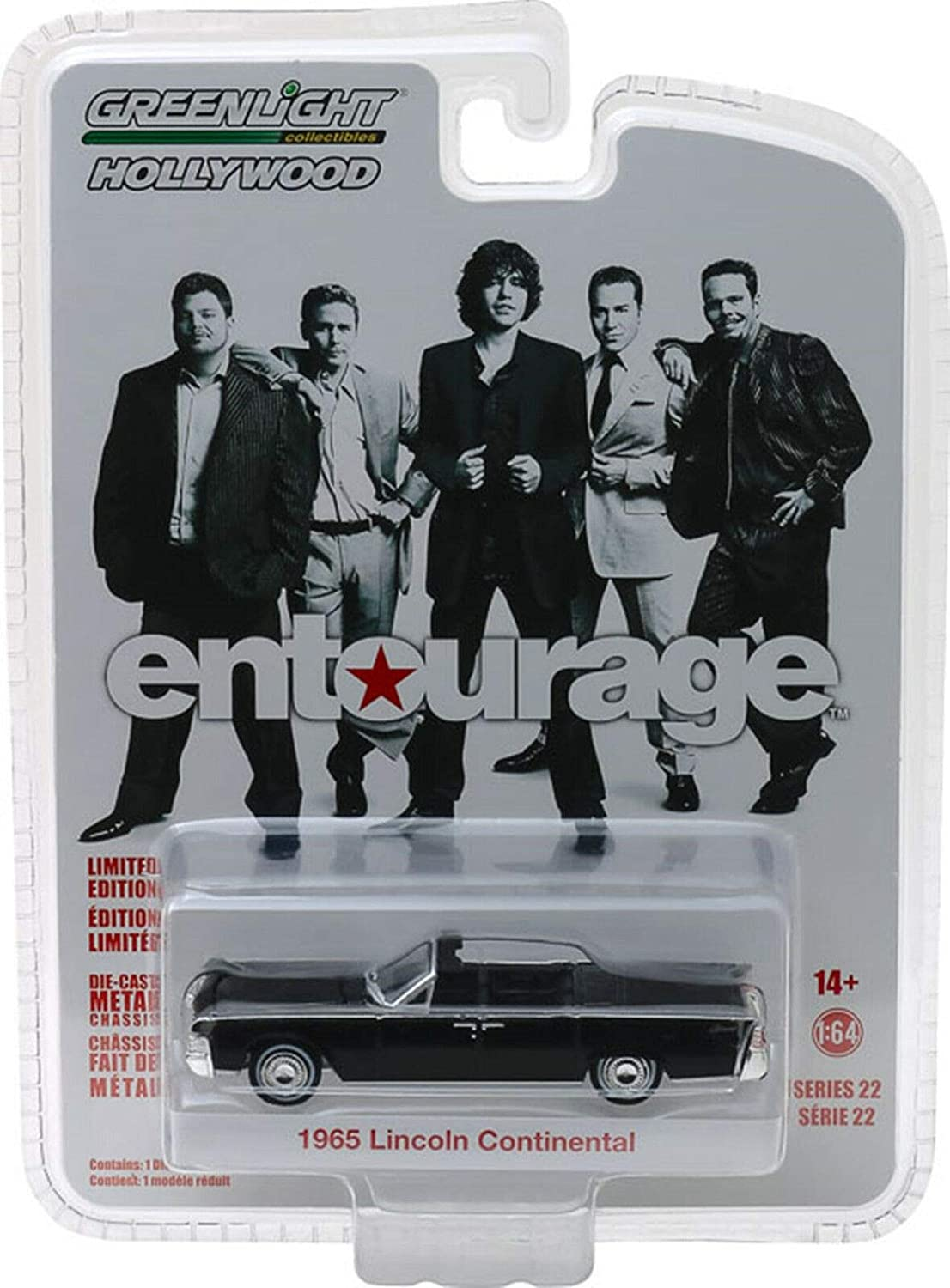 1965 Lincoln Continental Convertible Black Entourage (2004-2011) TV Series Hollywood Series 22 1/64 Diecast Model Car by Greenlight 44820 D
