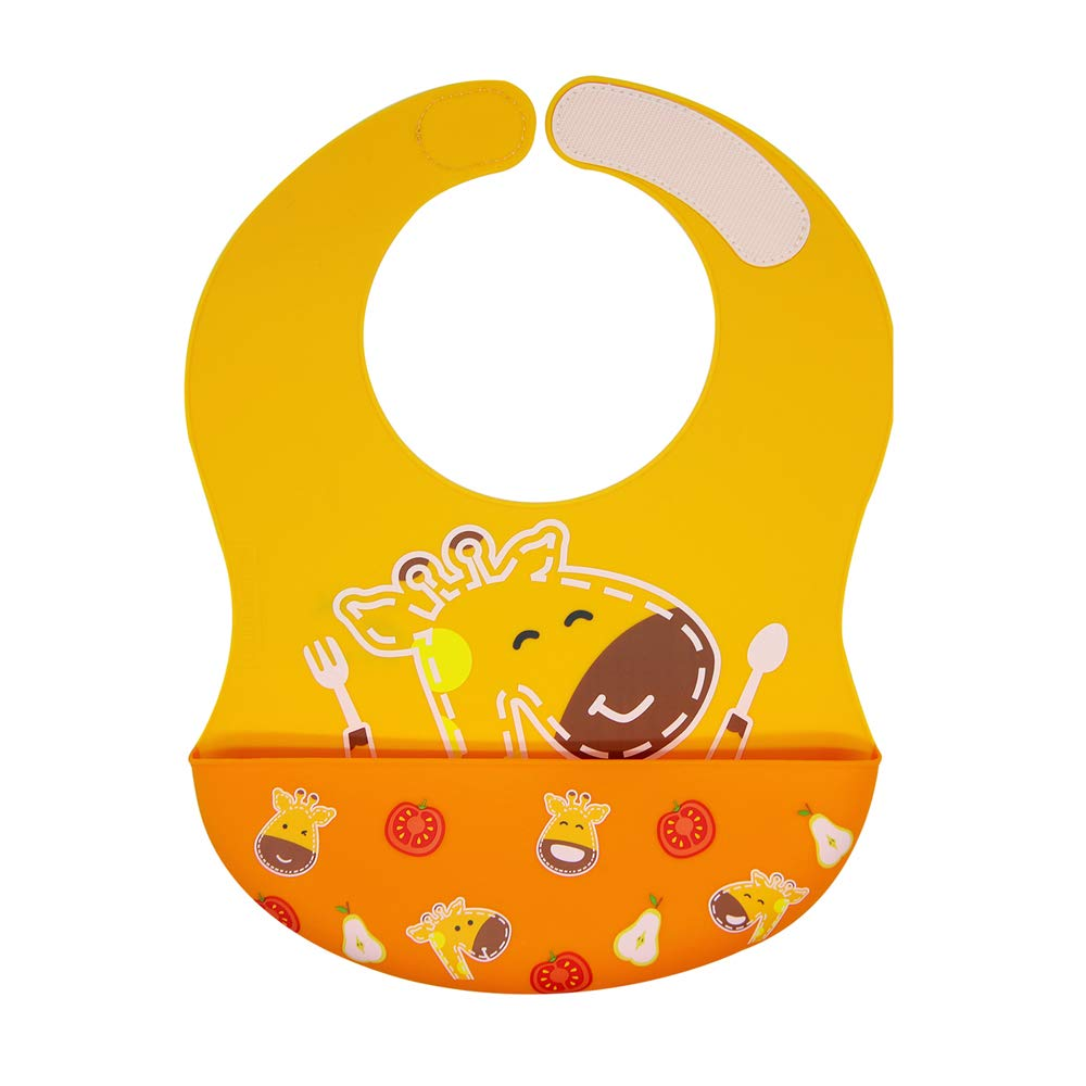 Silicone Baby Bibs for Baby & Toddler, Adjustable Size, Extra Large Crumb Catcher, BPA & Phthalate Free, 6 Month+