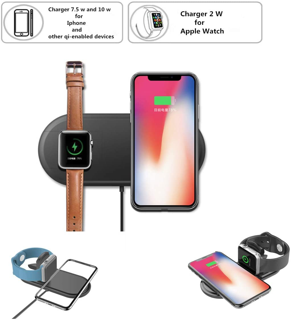 Nuoshawan 2 in 1 Qi Wireless Charging Pad Fast Charger Compatible iPhone X XS MAX XR 8 8 Plus, Samsung S8 S7 Edge S6 Edge+ Note 8, Nexus 5/6/7 iWatch Apple Watch Series 1/2/3 (Black)