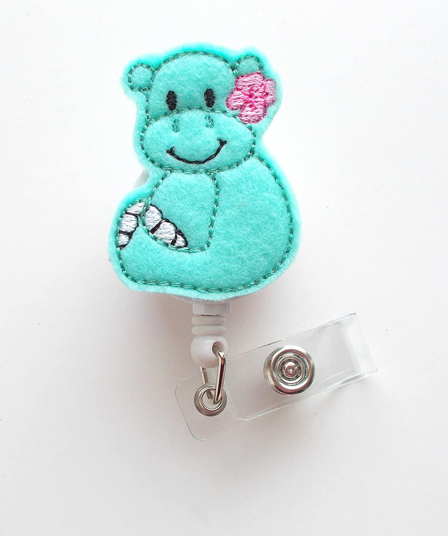 Baby Hippo Mint - Retractable ID Badge Reel - Name Badge Holder - Pediatric Badge Reel - Nurse Badge Holder - Nursing Badge - Felt Badge (Alligator Swivel Clip)