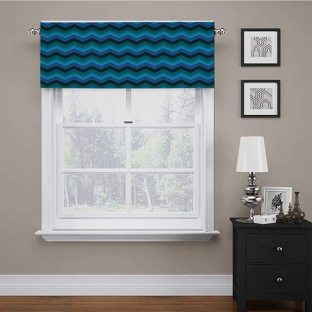 carmaxs Custom Valance Teal for Kids Room/Baby Nursery/Dormitory Horizontal Fashion Chevron Pattern in Aquatic Colors Thin Sharp Zigzag Lines Striped 54