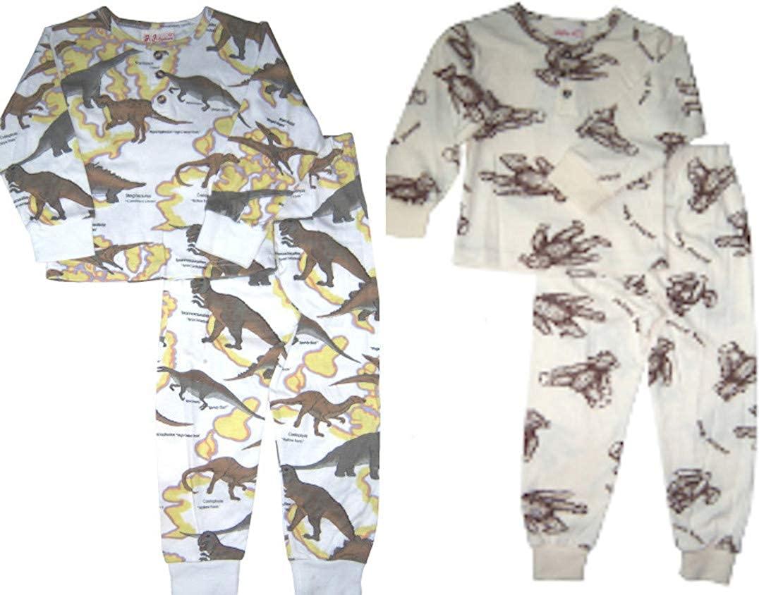 US Giftwear Package of Dinosaur & Teddy Bear Print Long Sleeve Pajama Set Size 12m - 3T