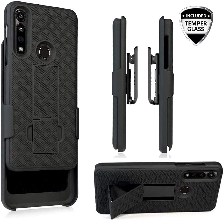 for Motorola Moto G Power (2020) Temper Glass Holster Belt Clip Phone Case Tough Rugged Armor Super Slim Protective Cover Defender Strong Clip [Kickstand] Verizon Moto G Power XT2041 (Black)