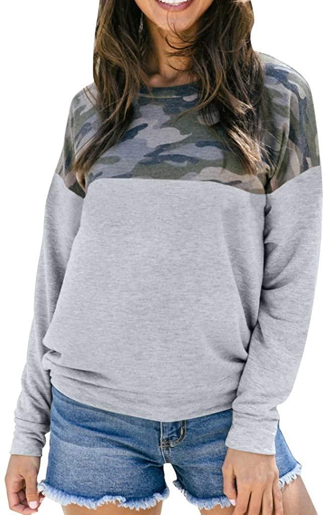 HNTDG Womens Long Sleeve Round Neck Camouflage Printed Stitching Elegant Sweatshirt Jumper Tops