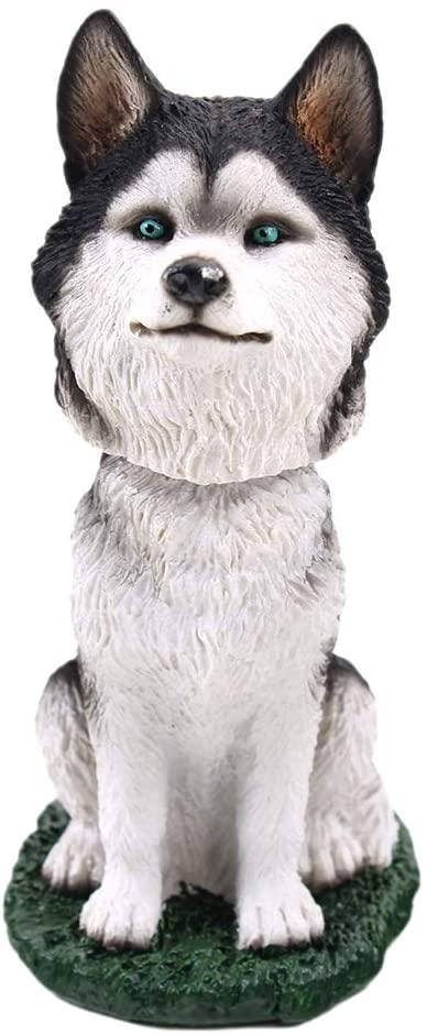 Animal Den Siberian Husky Dog Bobblehead Figure Toy for Car Dash Desk Fun Toy Accessory